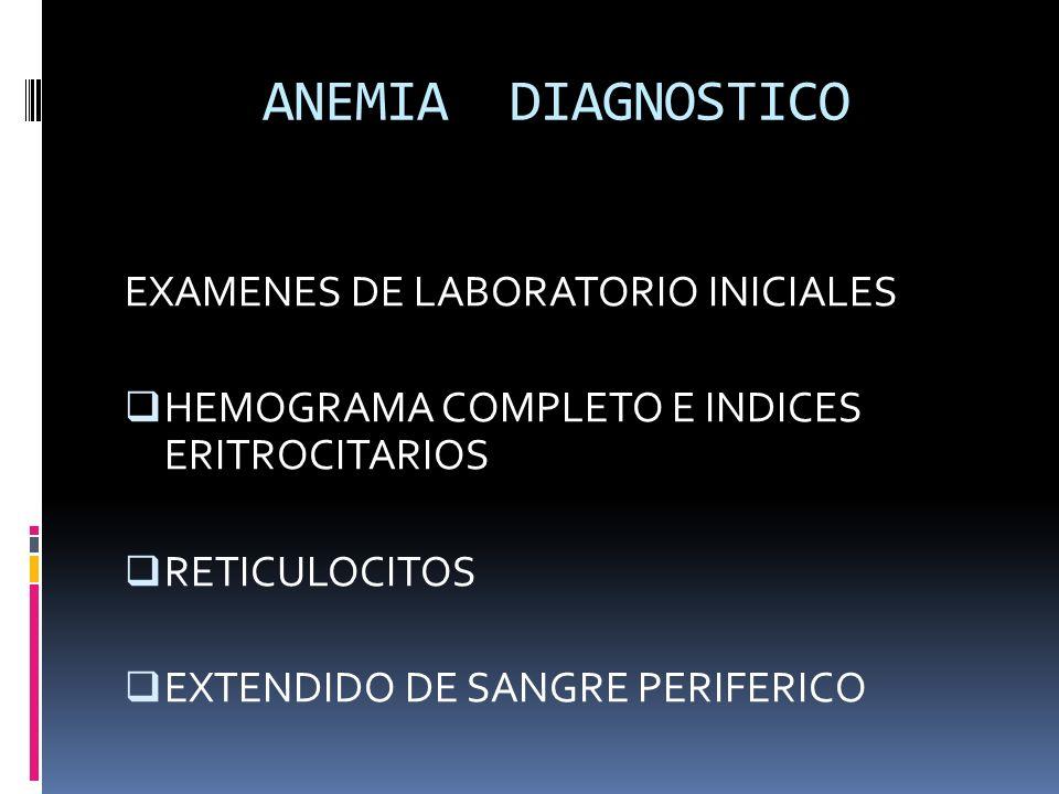 ANEMIA DIAGNOSTICO EXAMENES DE LABORATORIO INICIALES
