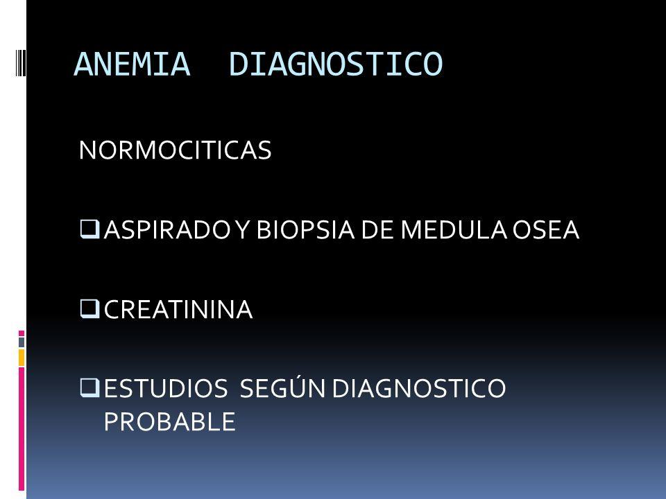 ANEMIA DIAGNOSTICO NORMOCITICAS ASPIRADO Y BIOPSIA DE MEDULA OSEA