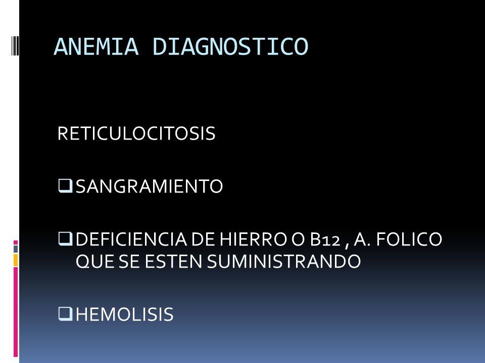 ANEMIA DIAGNOSTICO RETICULOCITOSIS SANGRAMIENTO