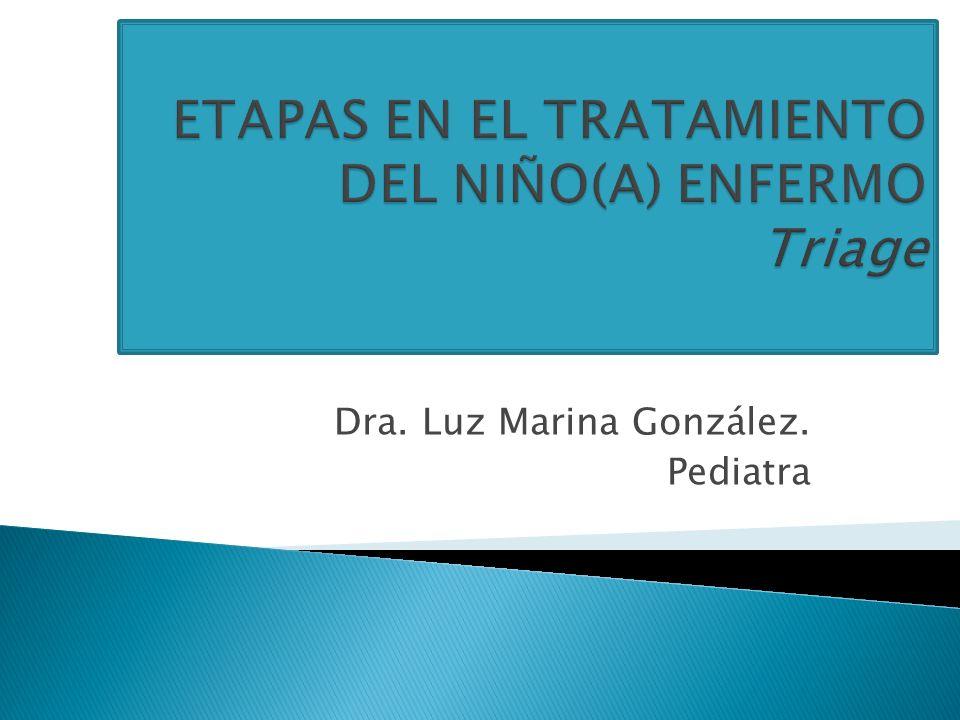 ETAPAS EN EL TRATAMIENTO DEL NIÑO(A) ENFERMO Triage