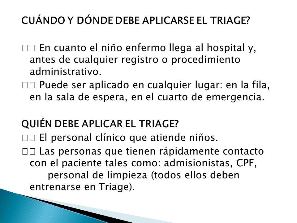 CUÁNDO Y DÓNDE DEBE APLICARSE EL TRIAGE
