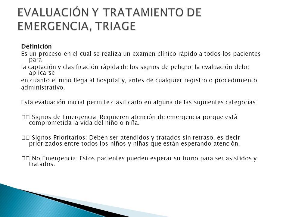 EVALUACIÓN Y TRATAMIENTO DE EMERGENCIA, TRIAGE