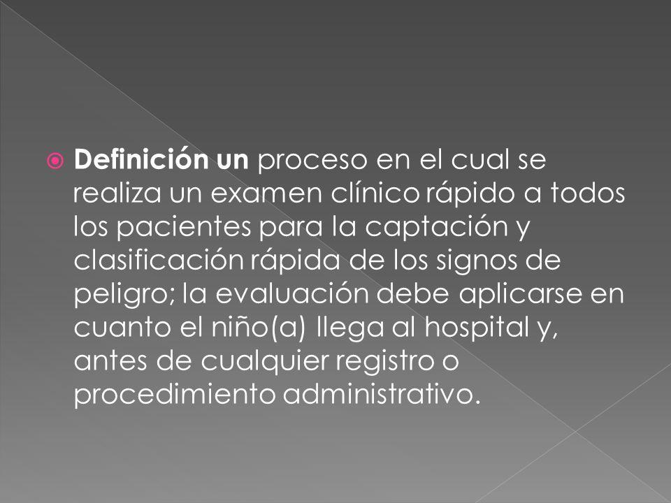Definición un proceso en el cual se realiza un examen clínico rápido a todos los pacientes para la captación y clasificación rápida de los signos de peligro; la evaluación debe aplicarse en cuanto el niño(a) llega al hospital y, antes de cualquier registro o procedimiento administrativo.