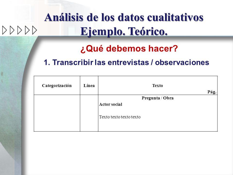 Análisis de los datos cualitativos