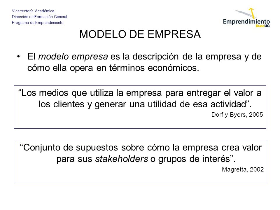 MODELO DE EMPRESA El modelo empresa es la descripción de la empresa y de cómo ella opera en términos económicos.