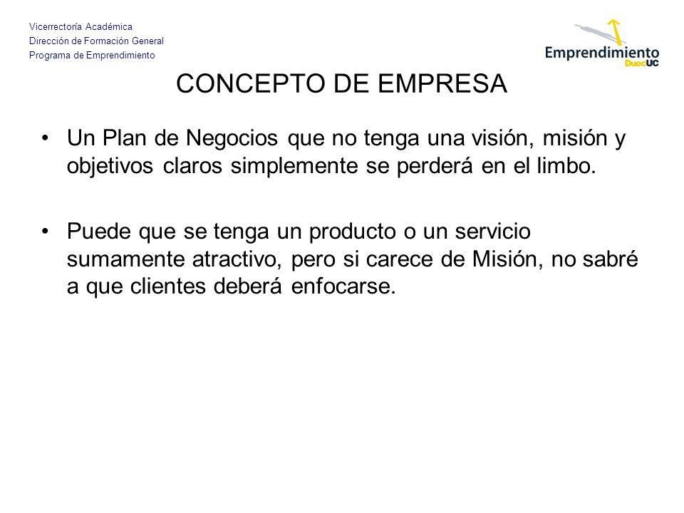 CONCEPTO DE EMPRESA Un Plan de Negocios que no tenga una visión, misión y objetivos claros simplemente se perderá en el limbo.