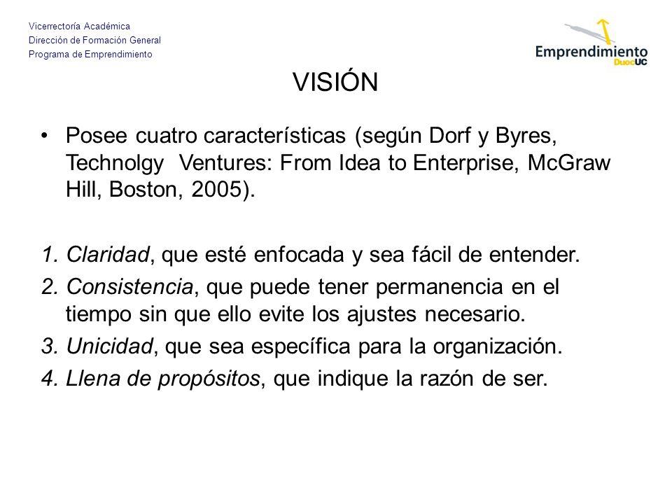 VISIÓNPosee cuatro características (según Dorf y Byres, Technolgy Ventures: From Idea to Enterprise, McGraw Hill, Boston, 2005).