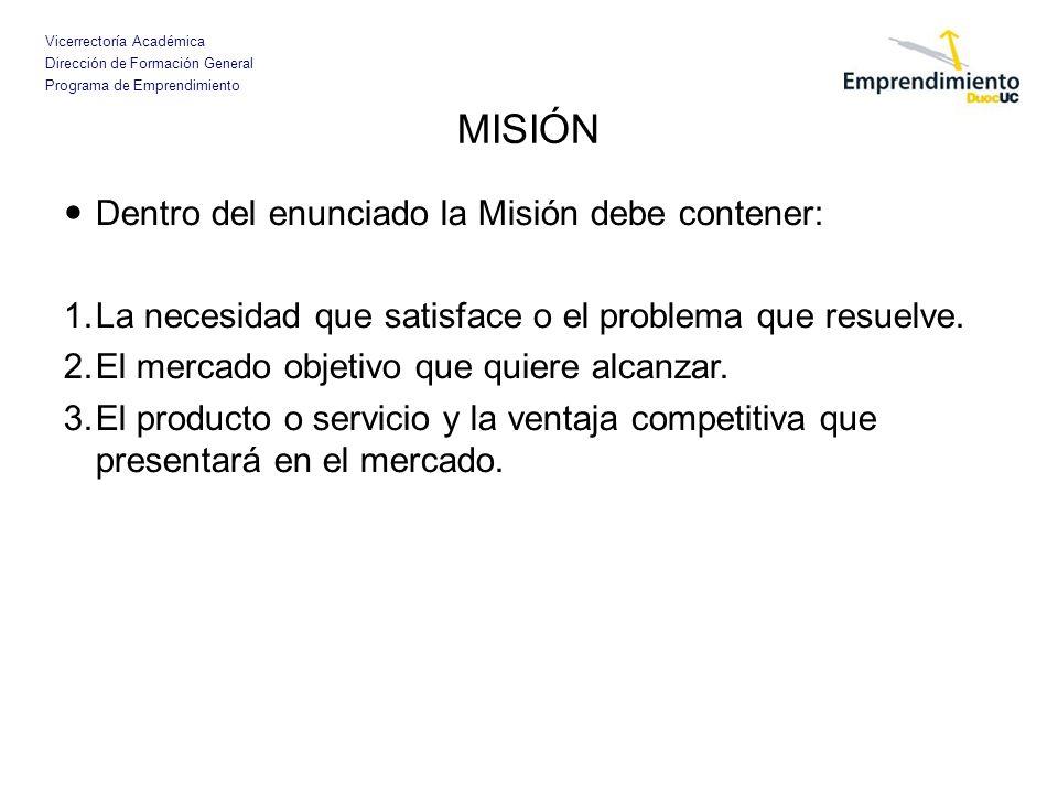 MISIÓN Dentro del enunciado la Misión debe contener: