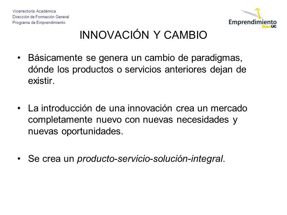 INNOVACIÓN Y CAMBIO Básicamente se genera un cambio de paradigmas, dónde los productos o servicios anteriores dejan de existir.