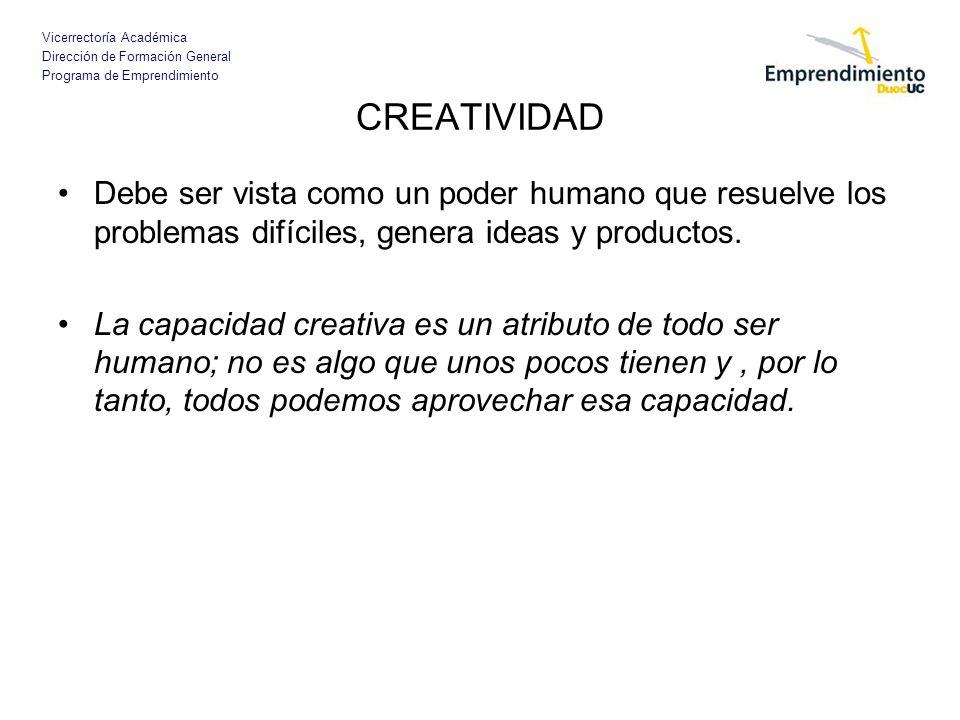 CREATIVIDADDebe ser vista como un poder humano que resuelve los problemas difíciles, genera ideas y productos.