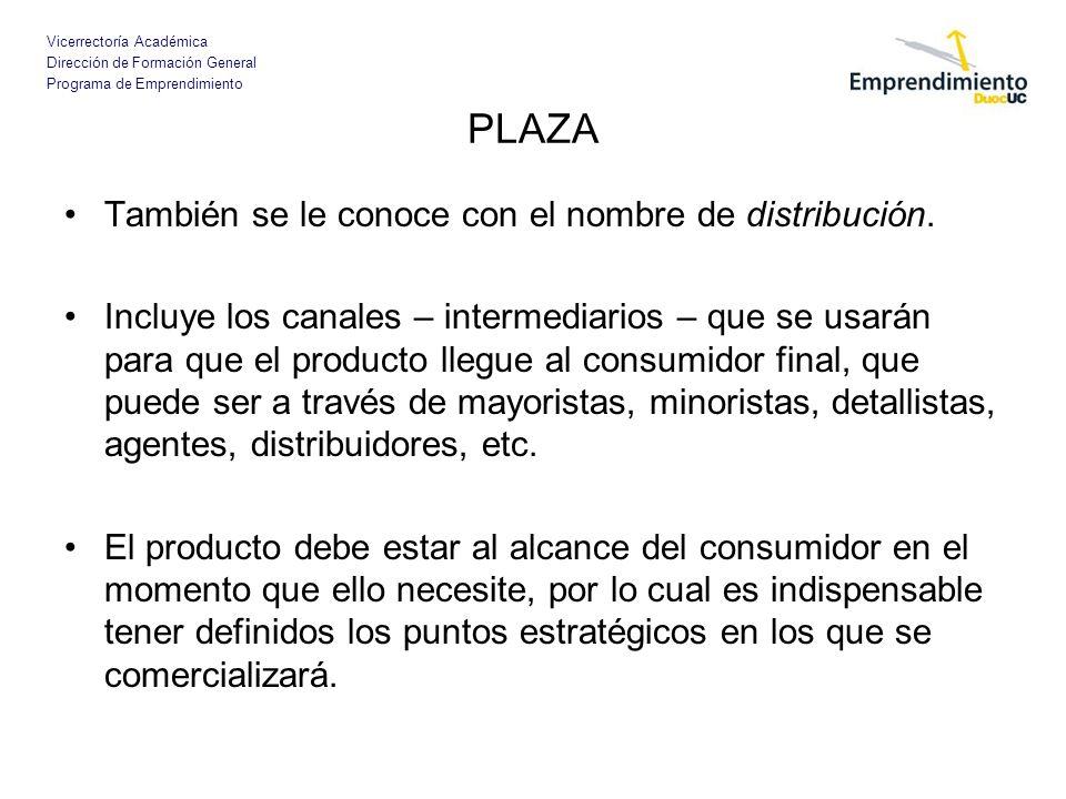 PLAZA También se le conoce con el nombre de distribución.