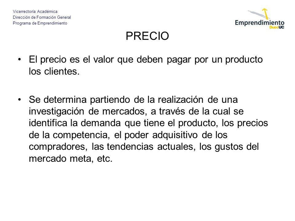 PRECIO El precio es el valor que deben pagar por un producto los clientes.