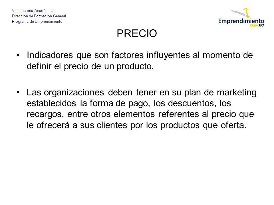 PRECIO Indicadores que son factores influyentes al momento de definir el precio de un producto.