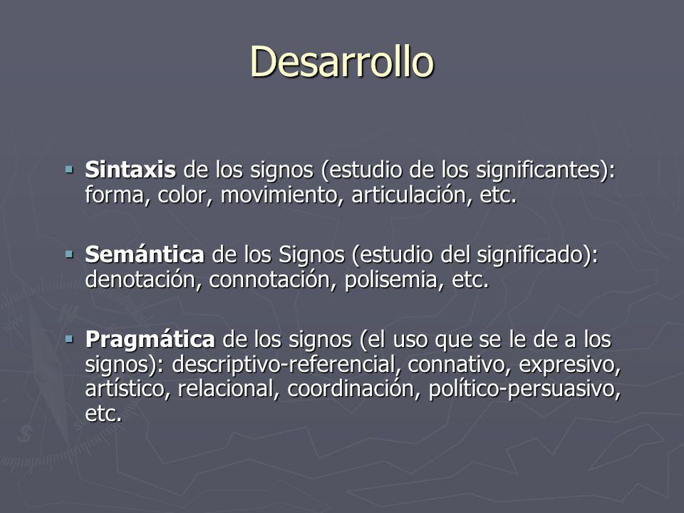 Desarrollo Sintaxis de los signos (estudio de los significantes): forma, color, movimiento, articulación, etc.