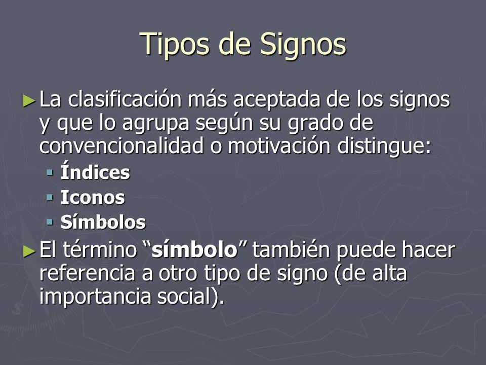 Tipos de Signos La clasificación más aceptada de los signos y que lo agrupa según su grado de convencionalidad o motivación distingue: