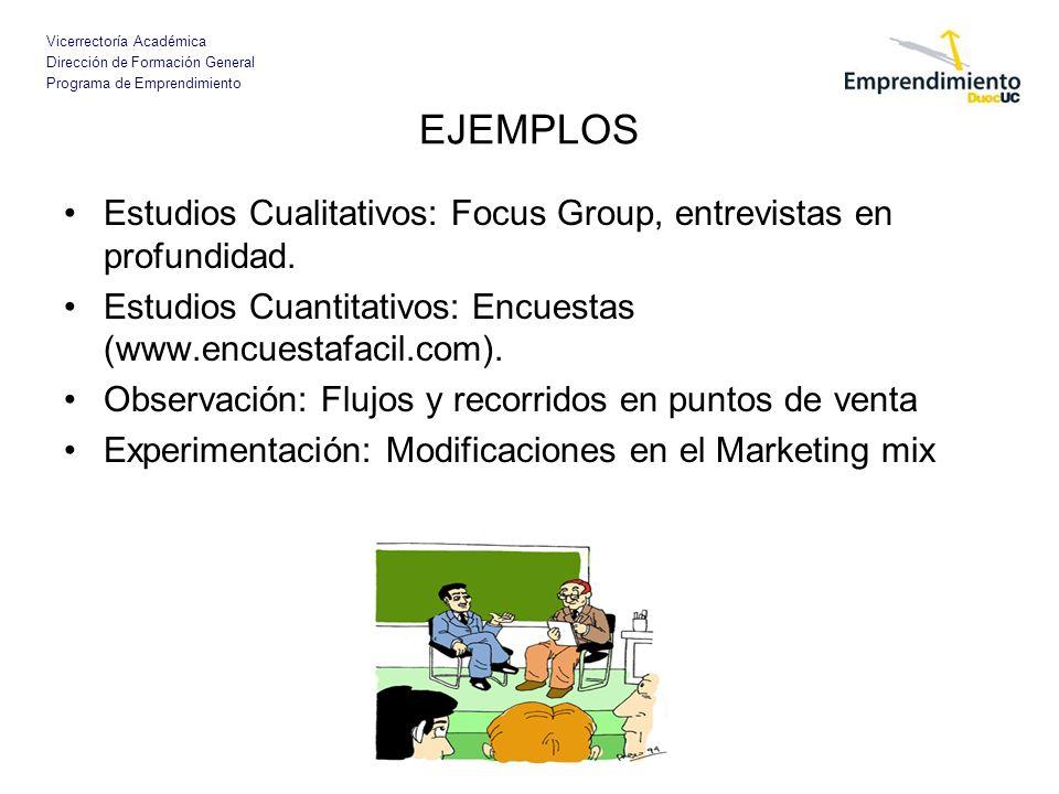EJEMPLOSEstudios Cualitativos: Focus Group, entrevistas en profundidad. Estudios Cuantitativos: Encuestas (www.encuestafacil.com).