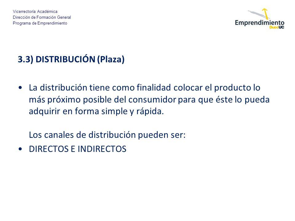 3.3) DISTRIBUCIÓN (Plaza)