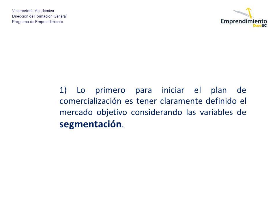 1) Lo primero para iniciar el plan de comercialización es tener claramente definido el mercado objetivo considerando las variables de segmentación.