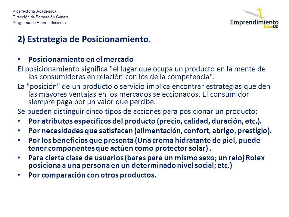 2) Estrategia de Posicionamiento.