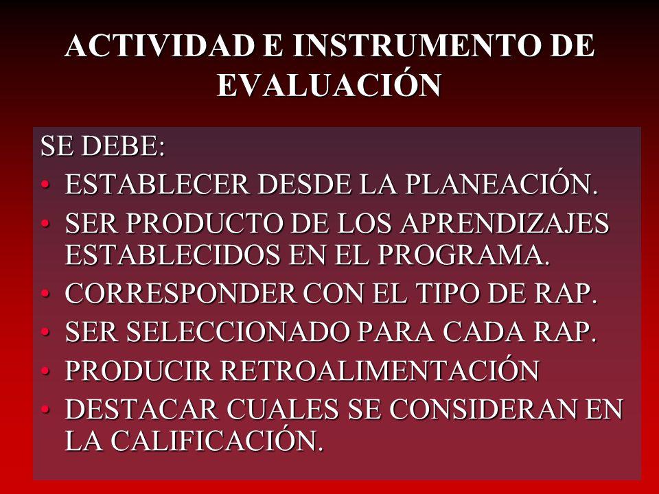ACTIVIDAD E INSTRUMENTO DE EVALUACIÓN