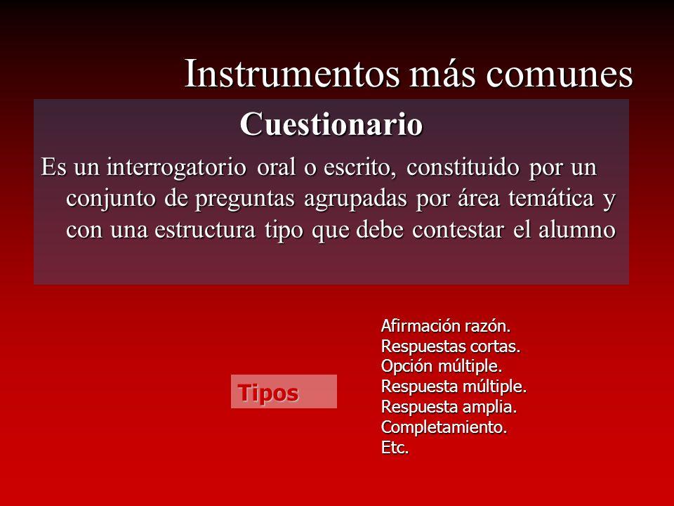 Instrumentos más comunes