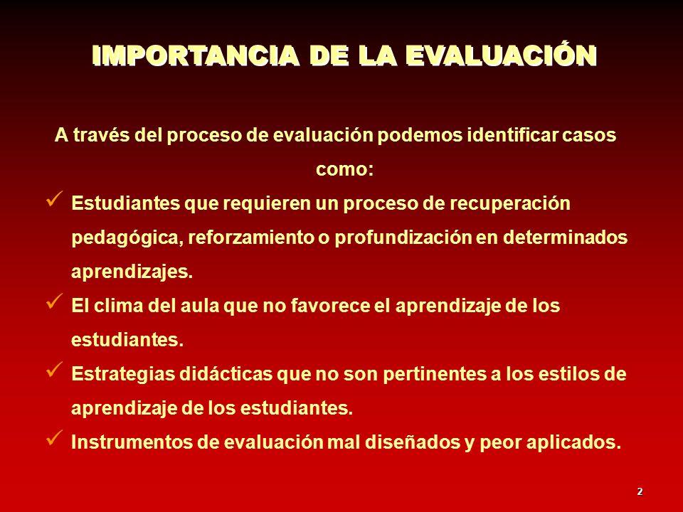 A través del proceso de evaluación podemos identificar casos como: