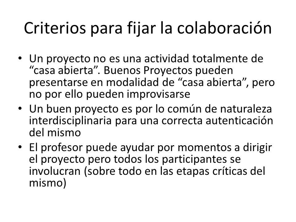 Criterios para fijar la colaboración