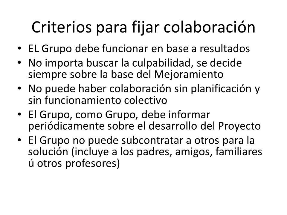 Criterios para fijar colaboración