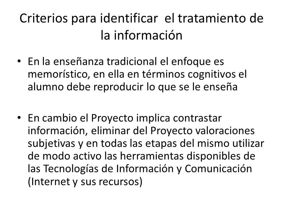 Criterios para identificar el tratamiento de la información