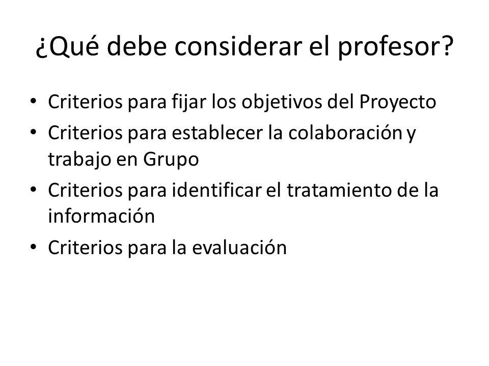 ¿Qué debe considerar el profesor