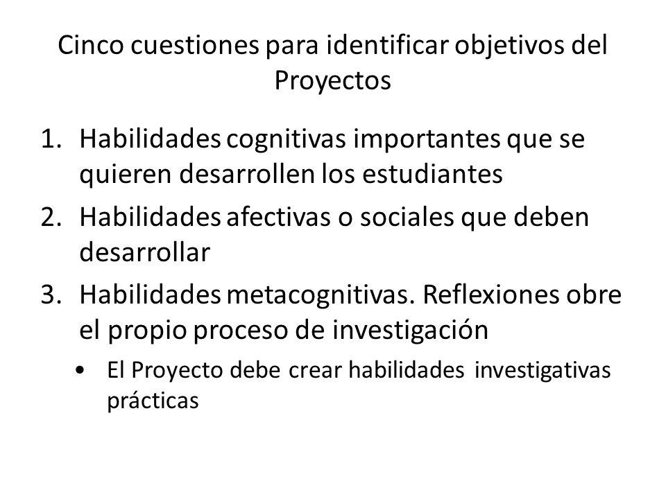 Cinco cuestiones para identificar objetivos del Proyectos