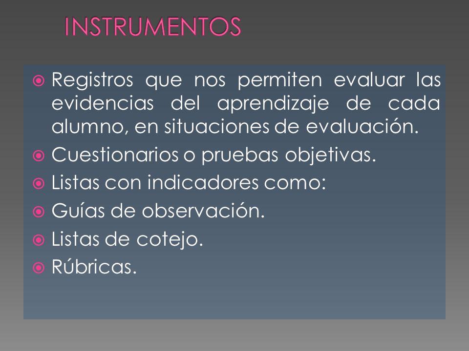 INSTRUMENTOS Registros que nos permiten evaluar las evidencias del aprendizaje de cada alumno, en situaciones de evaluación.