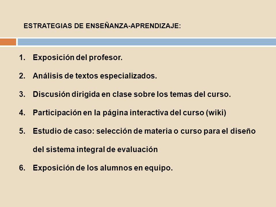 Exposición del profesor. Análisis de textos especializados.