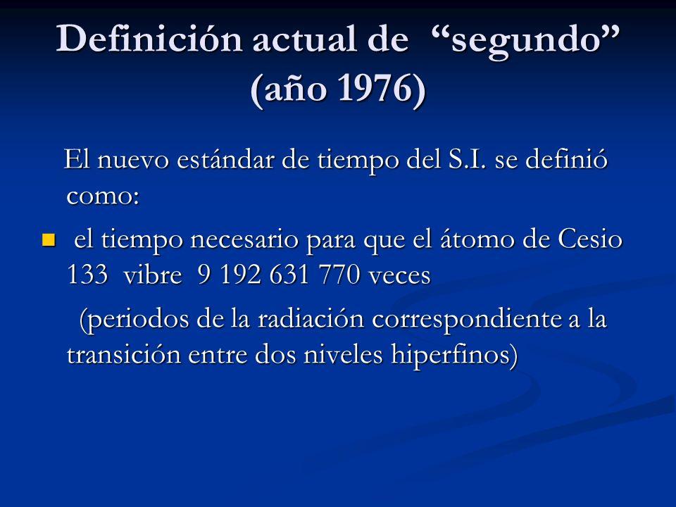 Definición actual de segundo (año 1976)