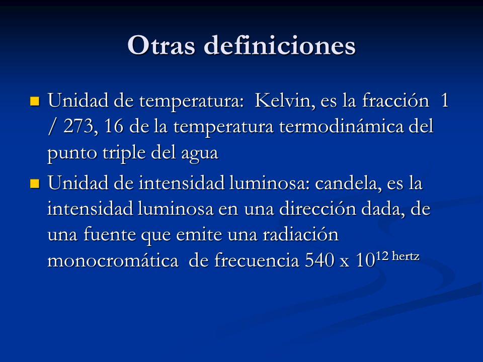 Otras definicionesUnidad de temperatura: Kelvin, es la fracción 1 / 273, 16 de la temperatura termodinámica del punto triple del agua.