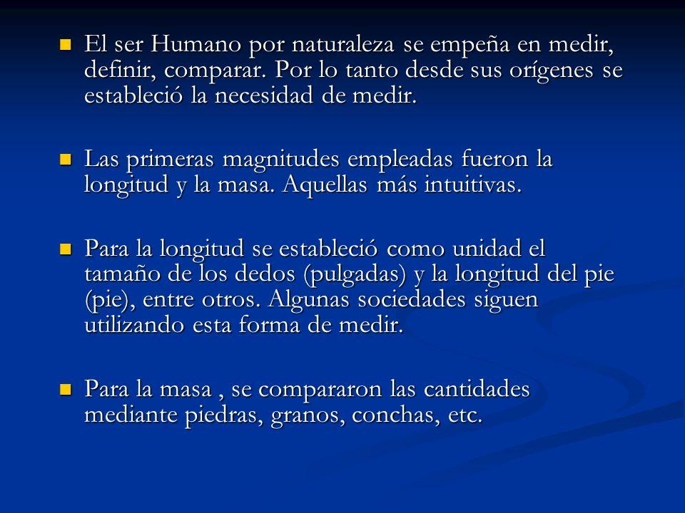 El ser Humano por naturaleza se empeña en medir, definir, comparar