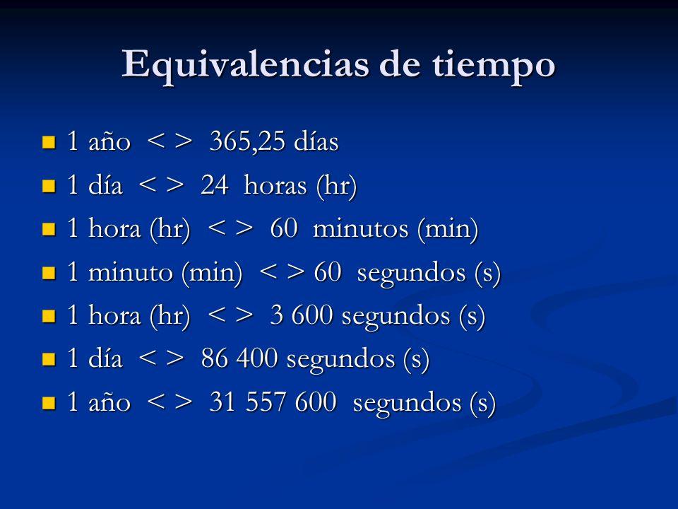 Equivalencias de tiempo
