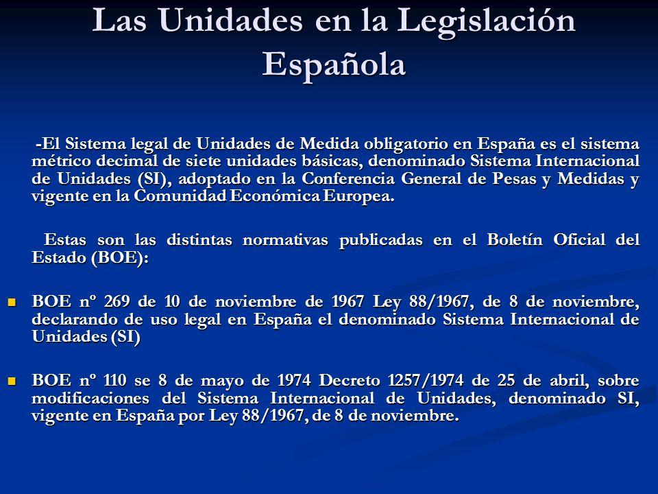 Las Unidades en la Legislación Española