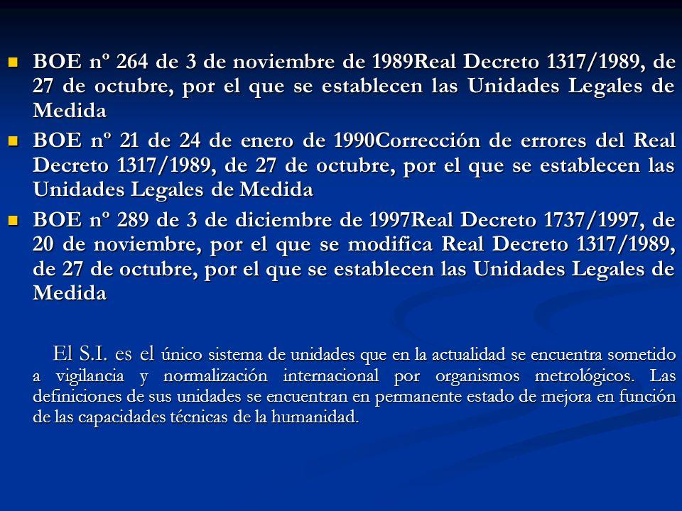 BOE nº 264 de 3 de noviembre de 1989Real Decreto 1317/1989, de 27 de octubre, por el que se establecen las Unidades Legales de Medida