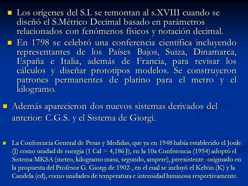 Los orígenes del S. I. se remontan al s. XVIII cuando se diseñó el S