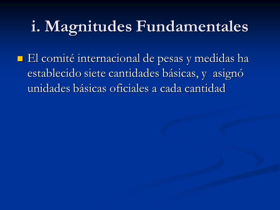 i. Magnitudes Fundamentales