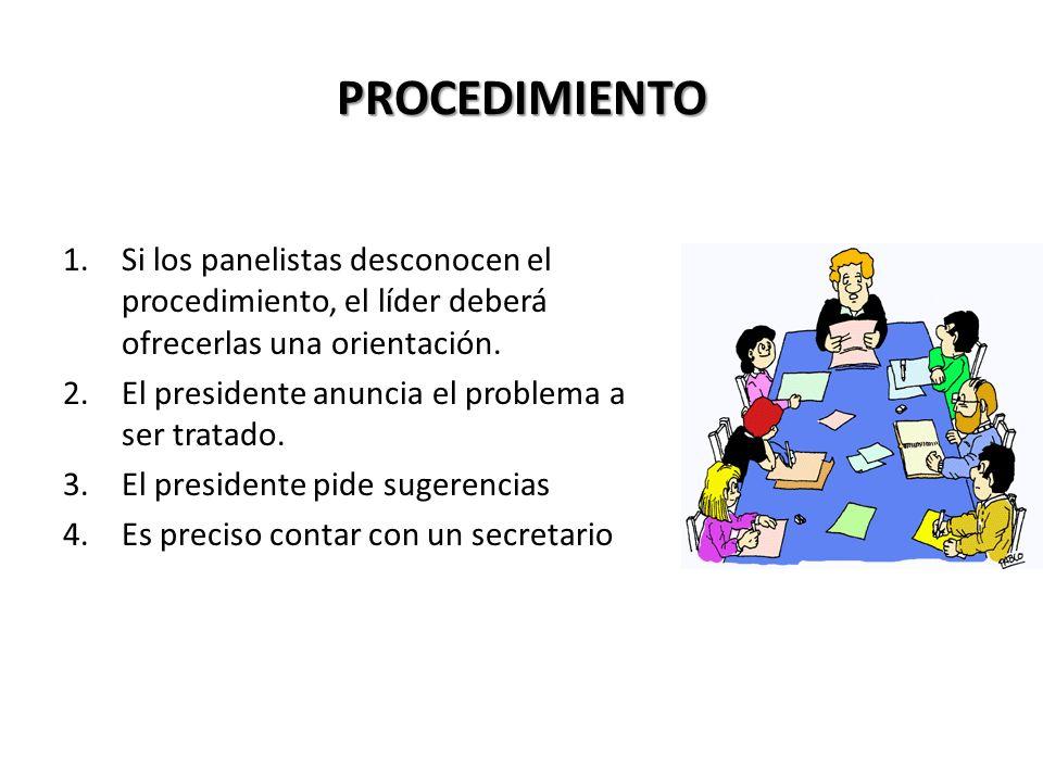 PROCEDIMIENTO Si los panelistas desconocen el procedimiento, el líder deberá ofrecerlas una orientación.