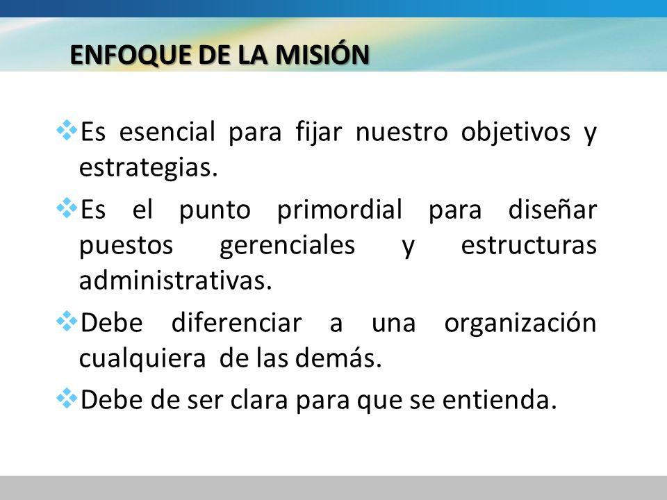 ENFOQUE DE LA MISIÓN Es esencial para fijar nuestro objetivos y estrategias.