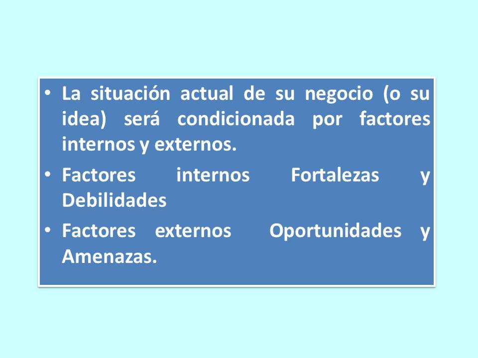 La situación actual de su negocio (o su idea) será condicionada por factores internos y externos.