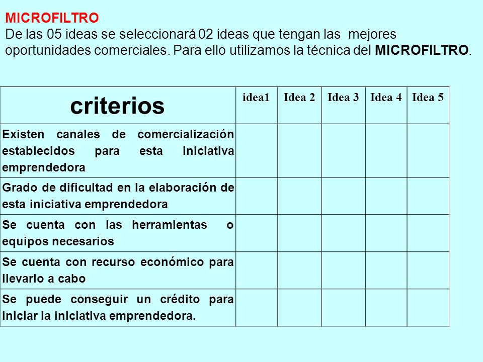 criterios MICROFILTRO