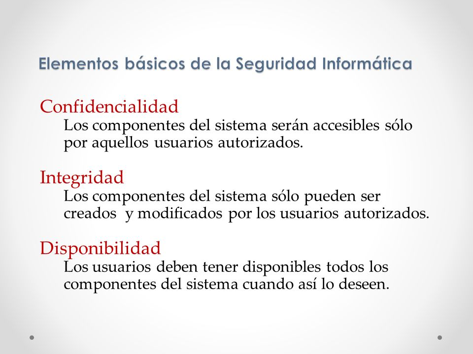 Elementos básicos de la Seguridad Informática