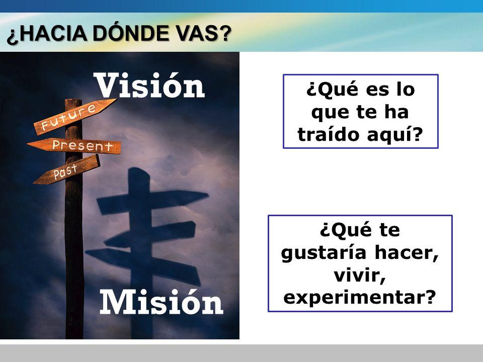 Visión Misión ¿HACIA DÓNDE VAS ¿Qué es lo que te ha traído aquí