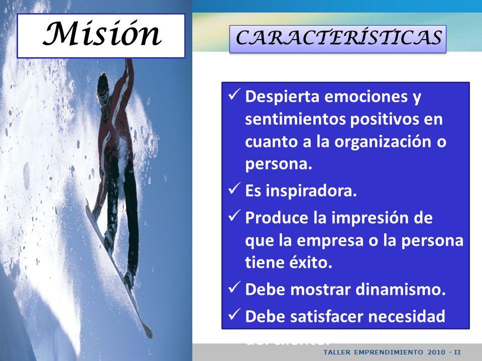 Misión CARACTERÍSTICAS