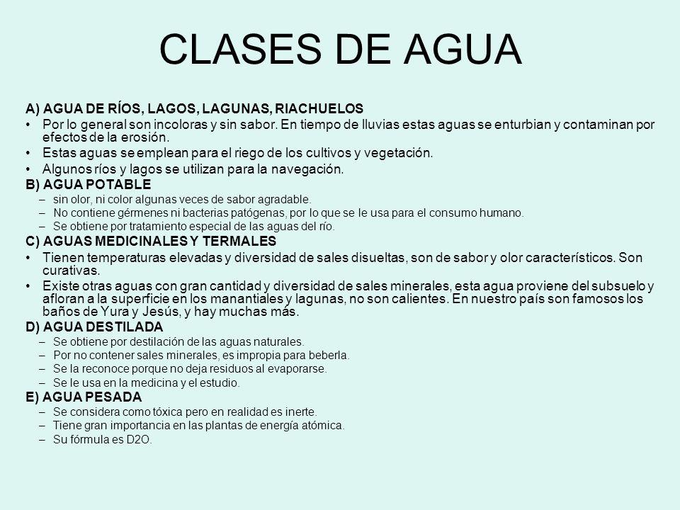 CLASES DE AGUA A) AGUA DE RÍOS, LAGOS, LAGUNAS, RIACHUELOS