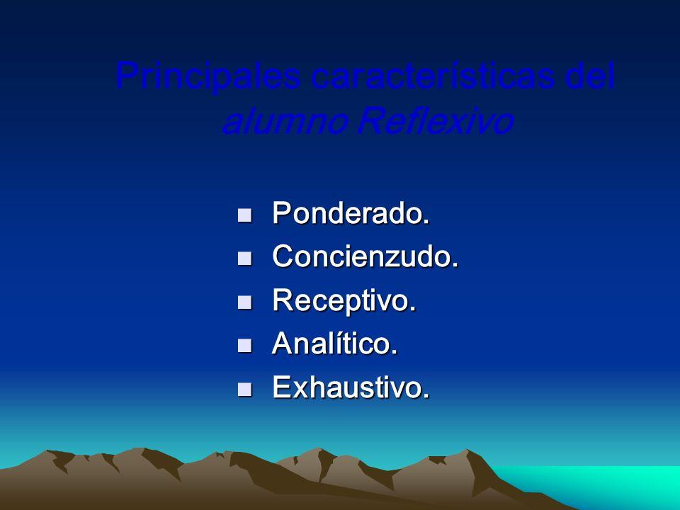 Principales características del alumno Reflexivo